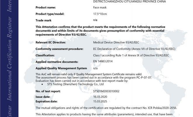 certificado de mascarilla quirúrgica para luchar contra el coronavirus